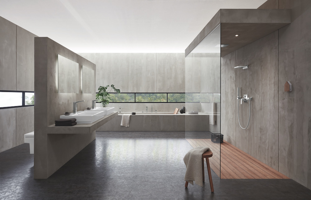 A modern and minimalist bathroom featuring GROHE products