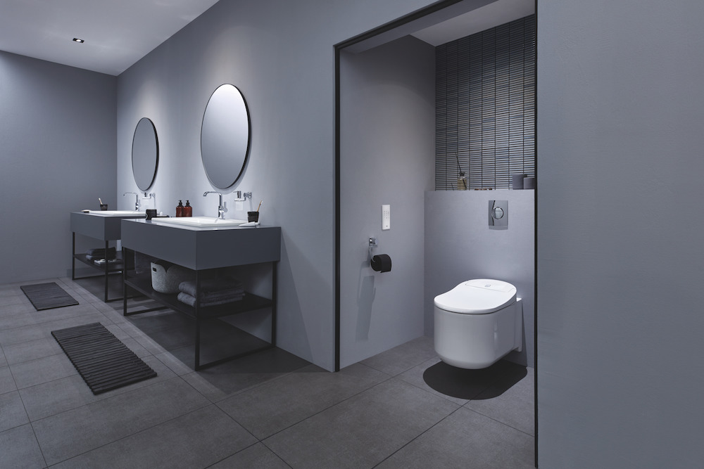 A modern bathroom featuring the GROHE Sensia Arena toilet