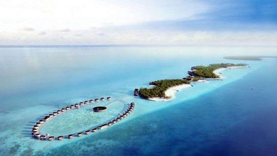 An aerial view of Fari Islands in Maldives