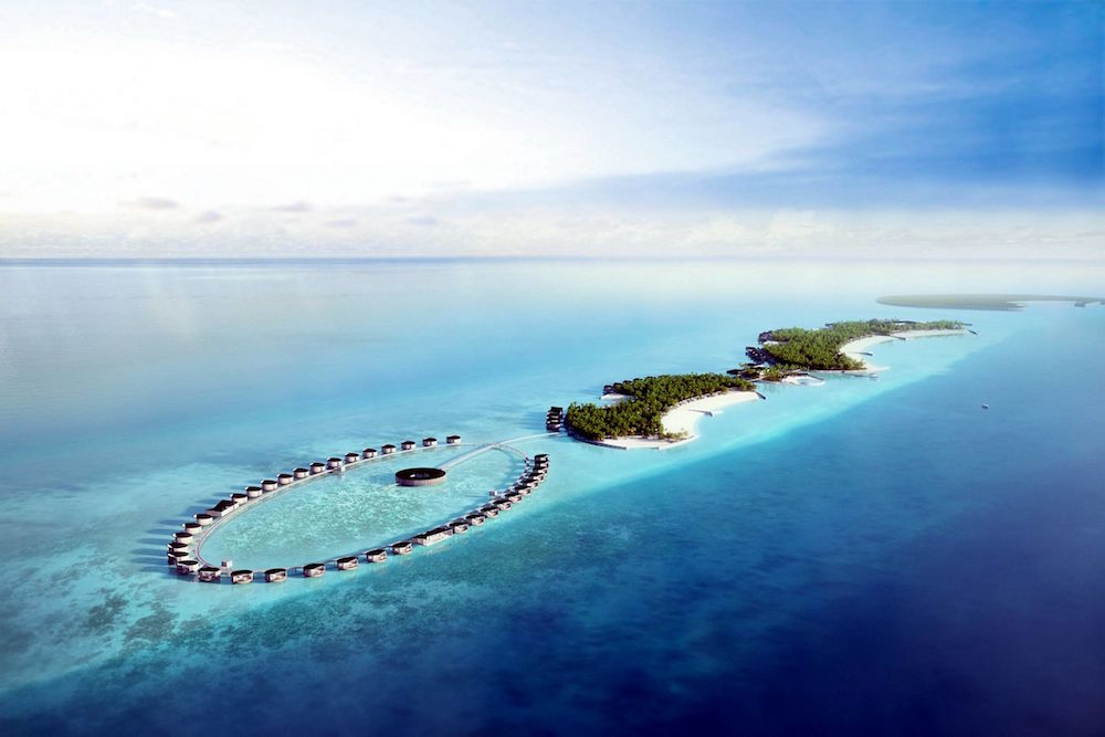 Arial view of Ritz Carlton hotel in Maldives