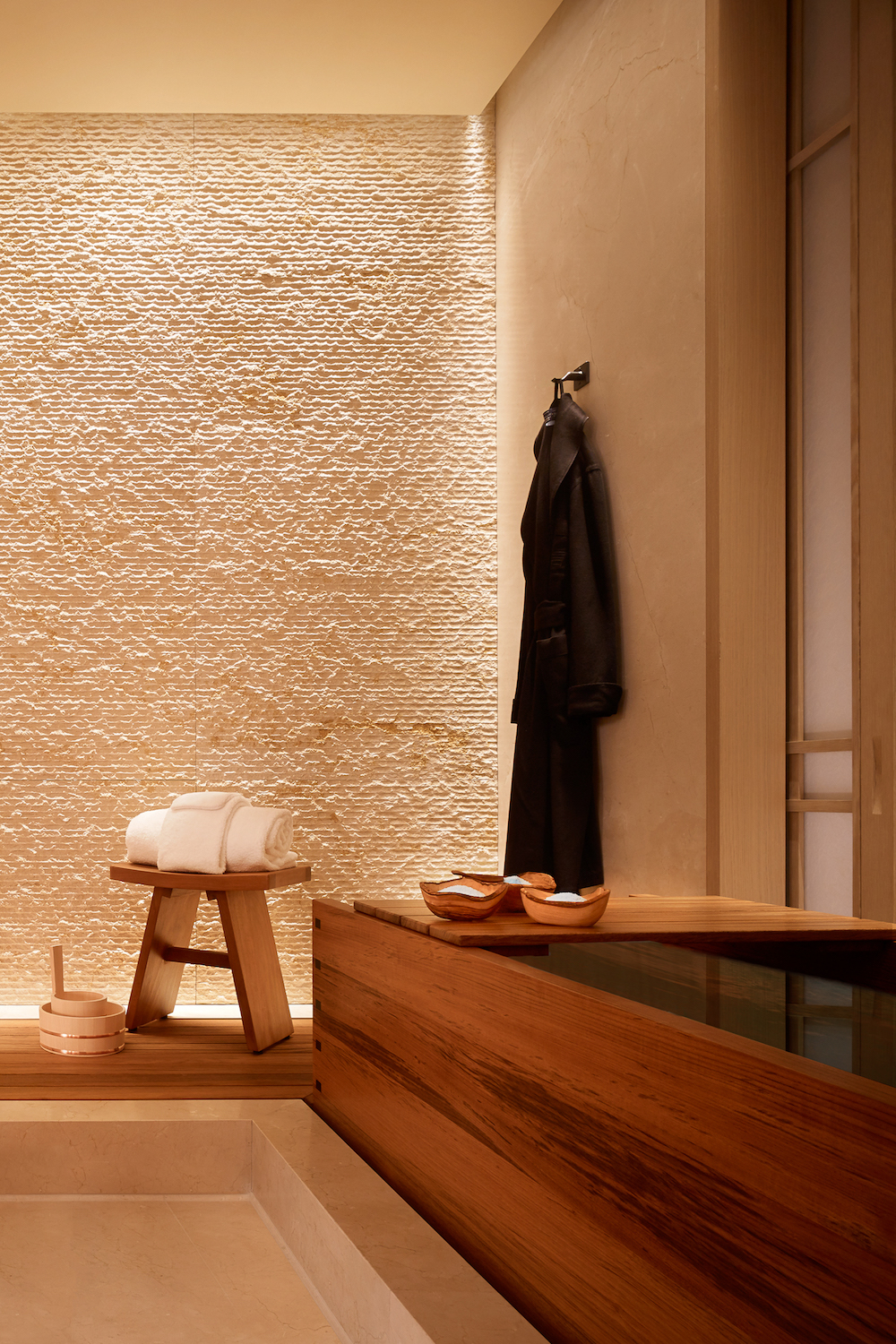 Image caption: A sneak peek of a bathroom inside the hotel shows a minimalist design scheme. | Image credit: Nobu Hospitality