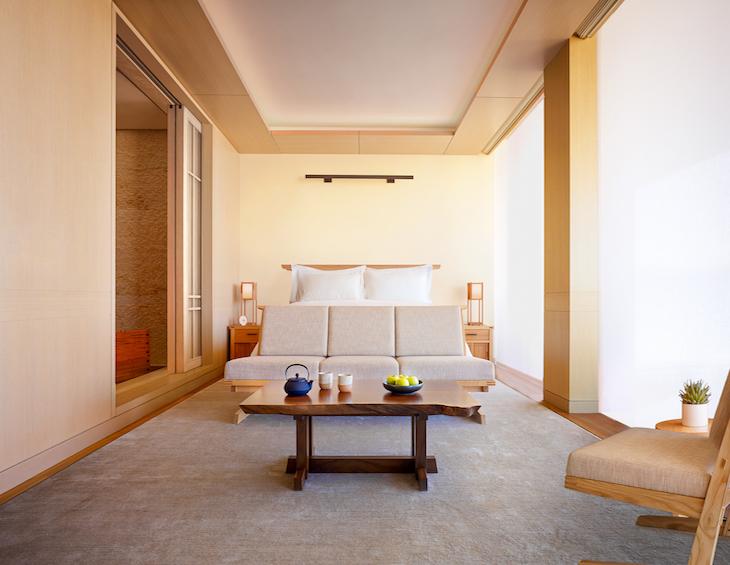 Image of minimalist design guestroom in Nobu hotel