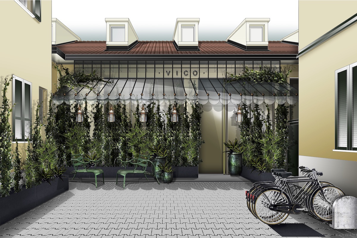 Image of render of courtyard in hotel in Milan- hotel opening in March