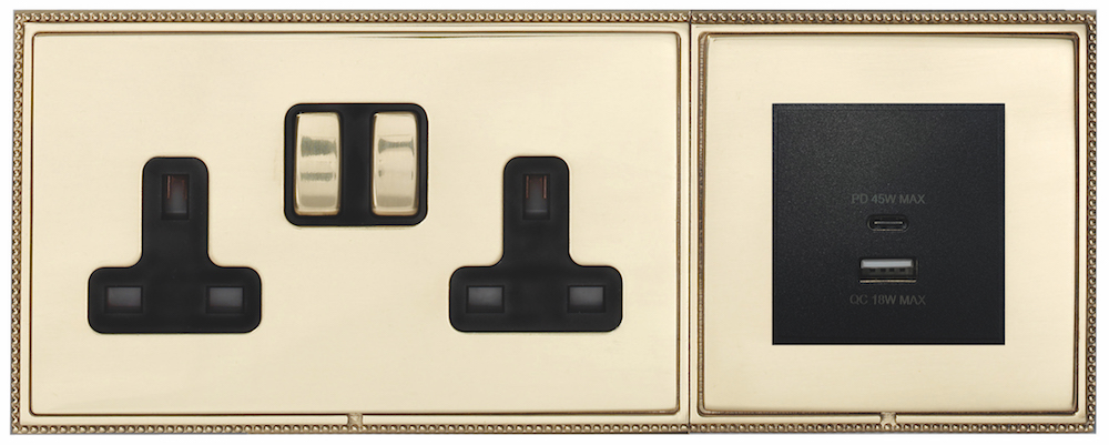 Black module gold finish usb charging socket
