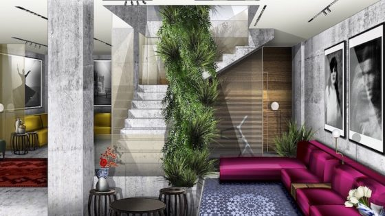 Render of vibrant interiors in a boutique hotel in Milan