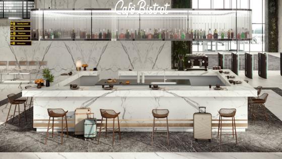 A large bar inside an airport