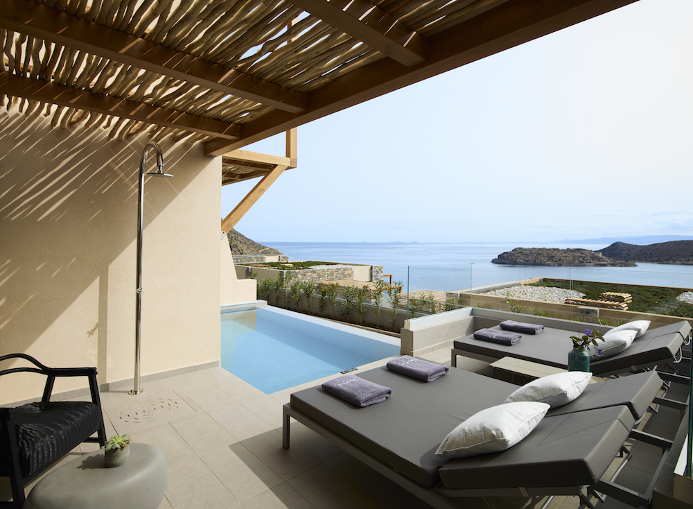 Image from terrace overviewing the sea and private pool in Crete