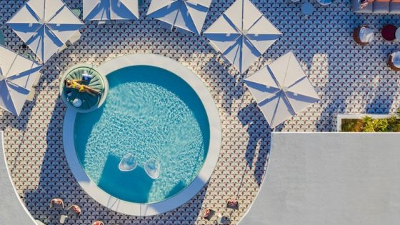 birdseye view of pool from above