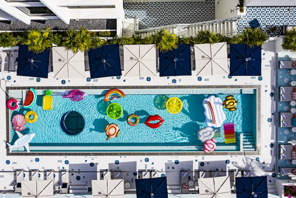 Birdseye image of pool from above Moxy Miami South Beach
