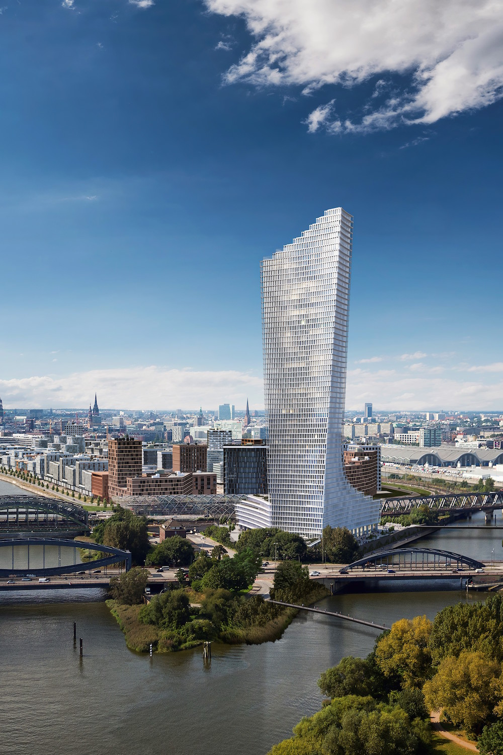 Image caption: Exterior shot of the Elbtower, designed by David Chipperfield Architects | Image credit. Nobu Hospitality