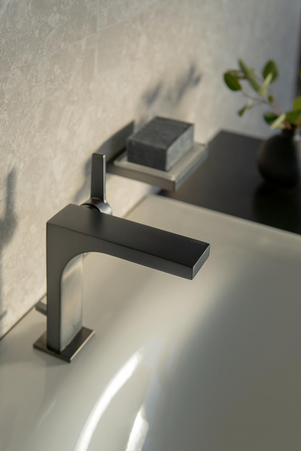 Close up of a matt black tap