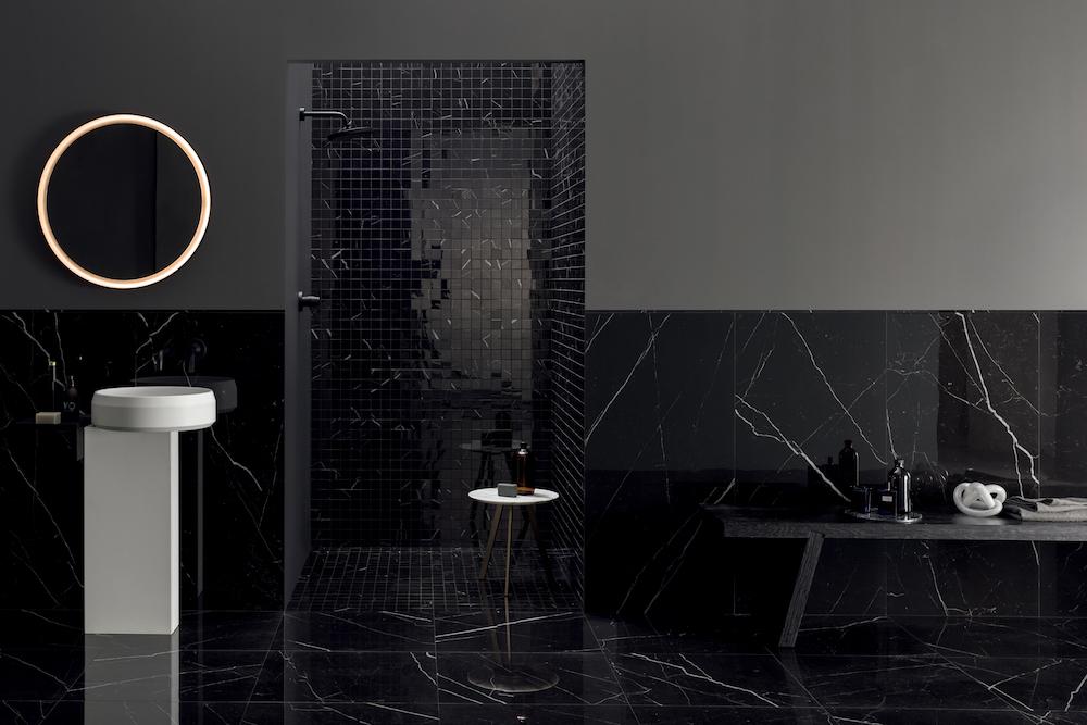 Antibacterial surfaces in a black bathroom