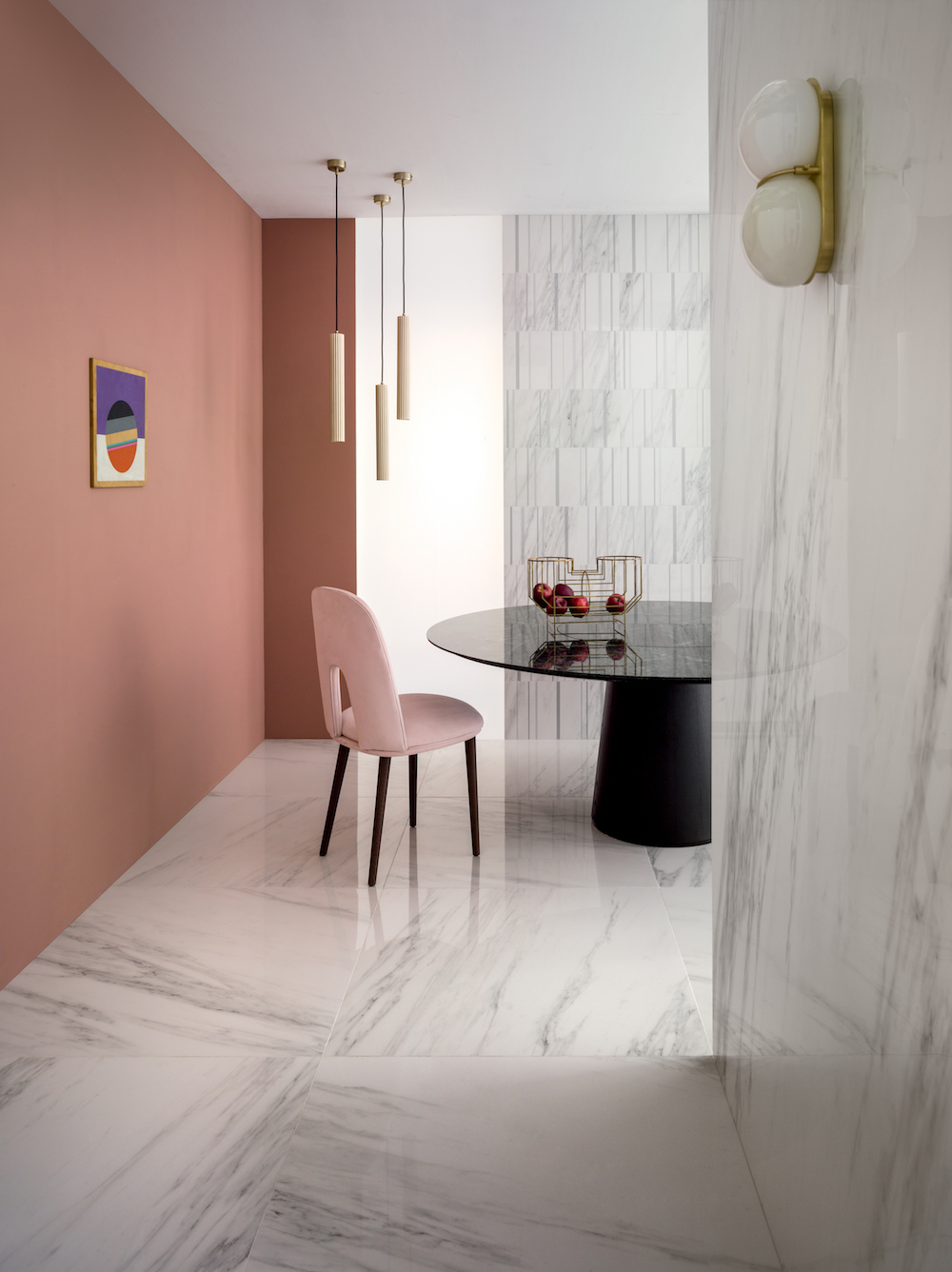 A clean, pastel interior scheme on surfaces