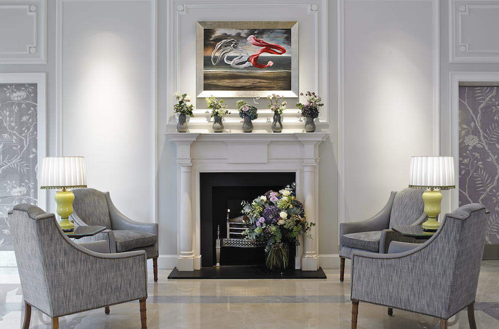 Image of the interiors of the lobby inside the Marriott Hotel Park Lane