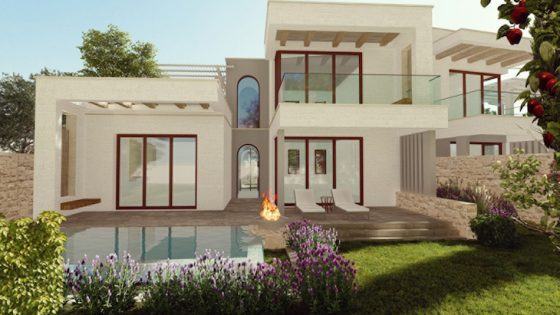 Render of outside of villa at new FOur Seasons hotel in Southern Italy