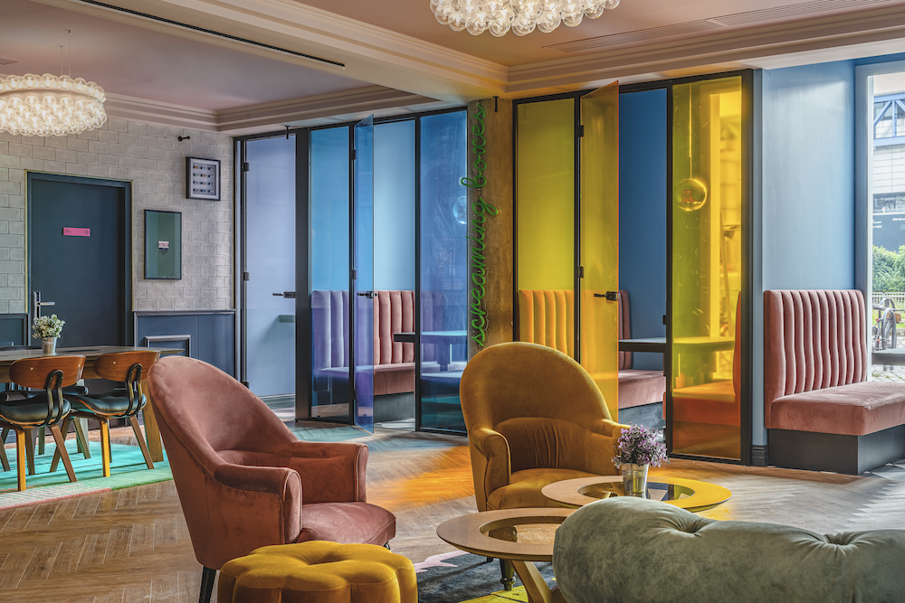 Image caption: The lobby inside The ReMIX Hotel in Paris features design-led co-working spaces. | Image credit: Marvin Gang