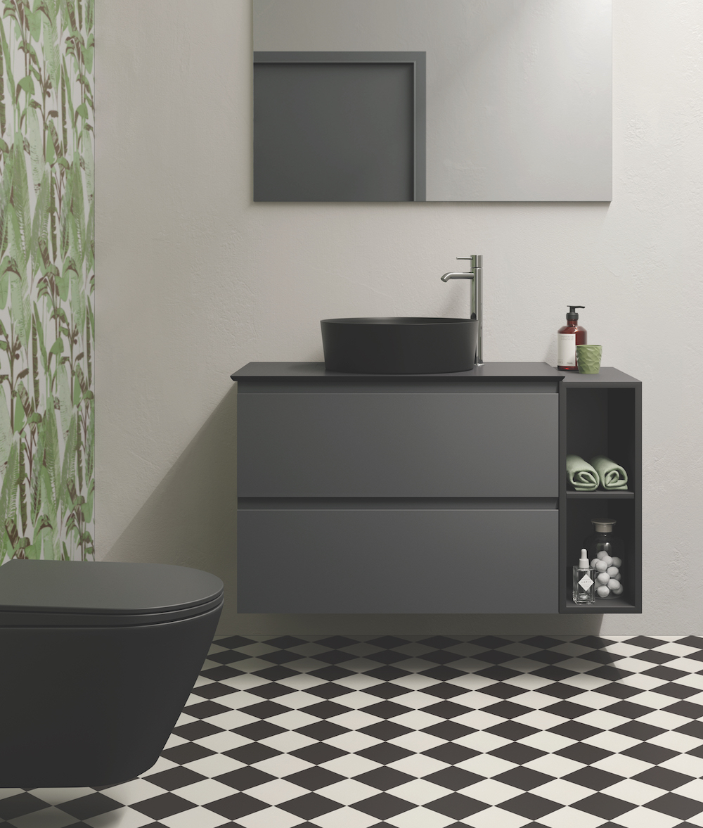 Biophilic design elements in wallcoverings of modern bathroom