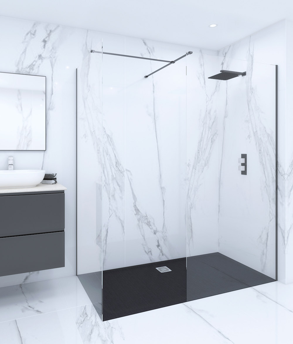 Marble-like bathroom with modern walk-in shower
