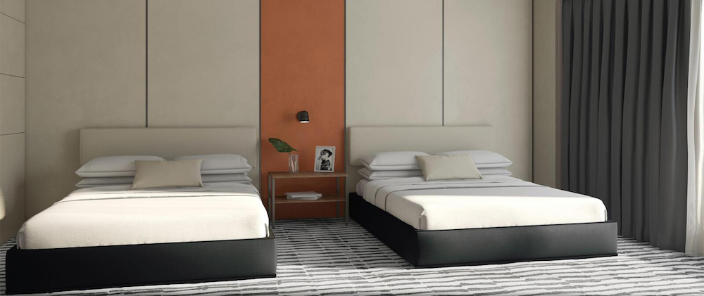 Two twin beds in a modern setting