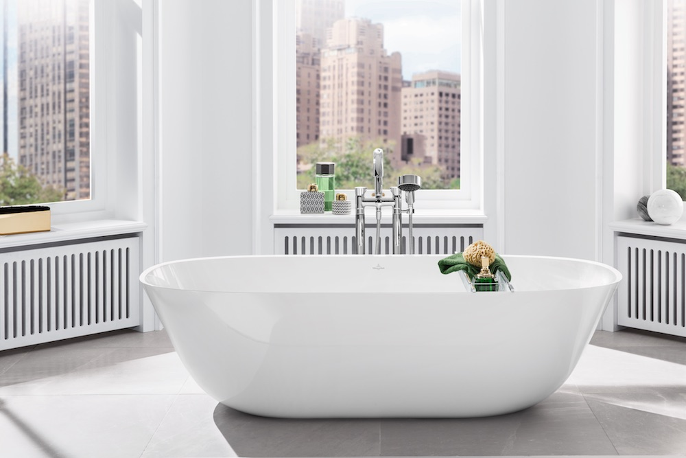 Hygiene in the bathroom with a modern white bath