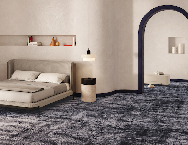 Image of guestroom, modern, with blue carpets