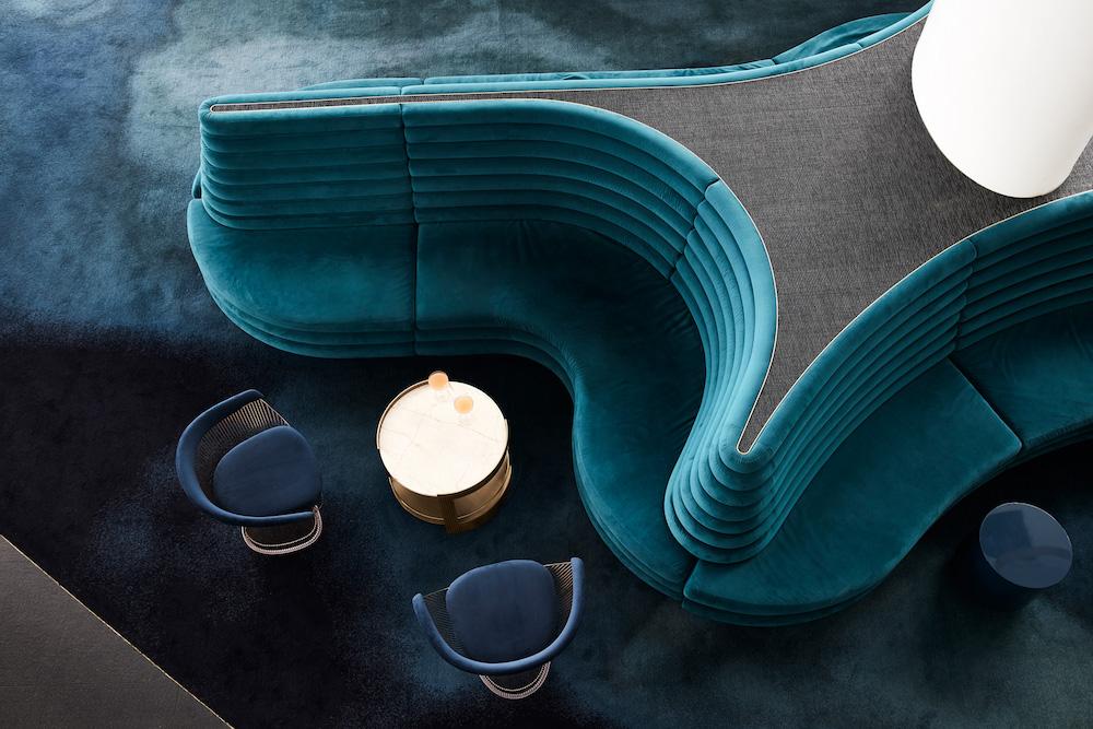 Image of luscious blue furniture and carpet