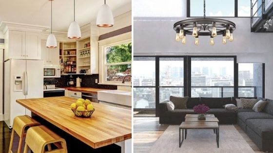 Two images of lighting in kitchen and lighting in lounge
