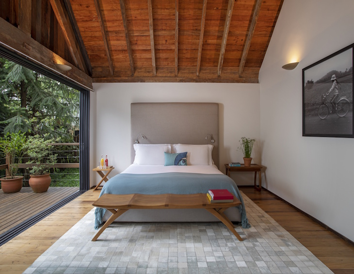 A guestroom inside Six Senses Botanique showing nature through floor to ceiling windows
