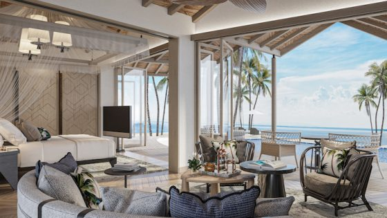 A render of an open air suite in Seychelles
