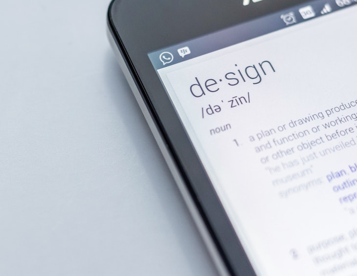 Image of 'design' on mobile phone