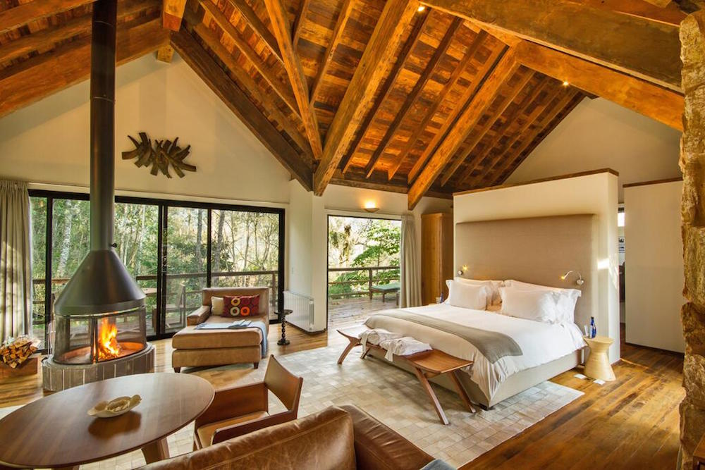Wooden interiors inside a suite of Six Senses Brazil