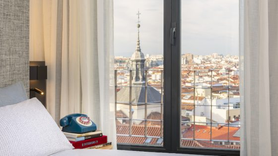 image of guestroom overlooking city of Madrid