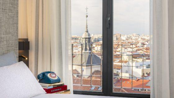 image of guestroom overlooking city of Madrid