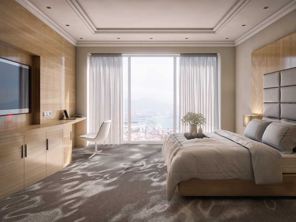 Beautiful hotel room suite, elegant and luxury with modern style, wooden walls and great view of the city. 3D Photorealistic render