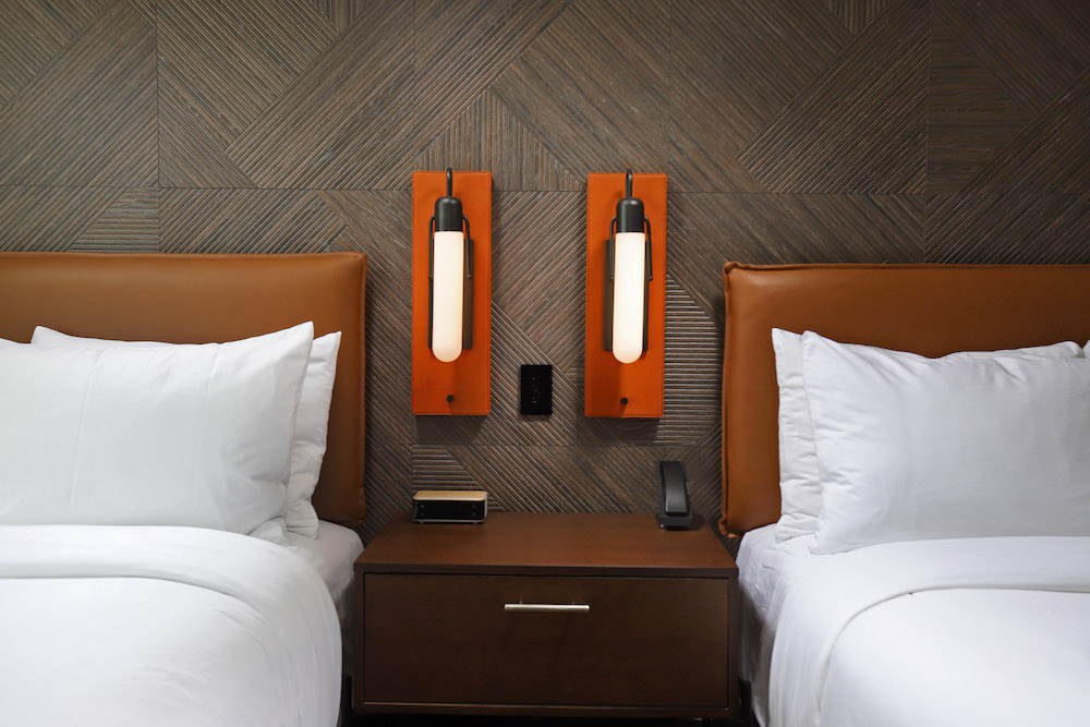 Twin beds in hotel room