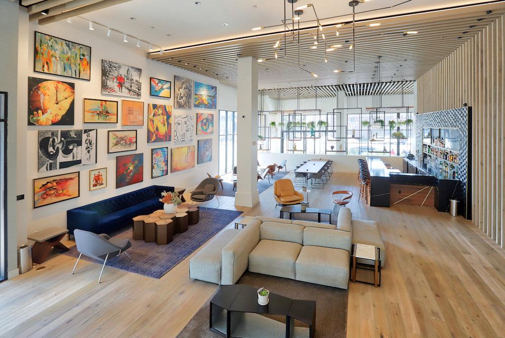 The art-filled lobby inside The Glenmark Hotel