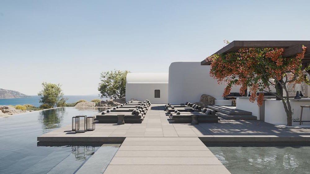 An image of infinity pool in Mykonos hotel that is opening this April