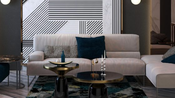Image of rug in a lounge-like setting