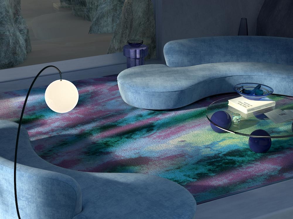 Image of blue funriture on blue/green/purple carpet