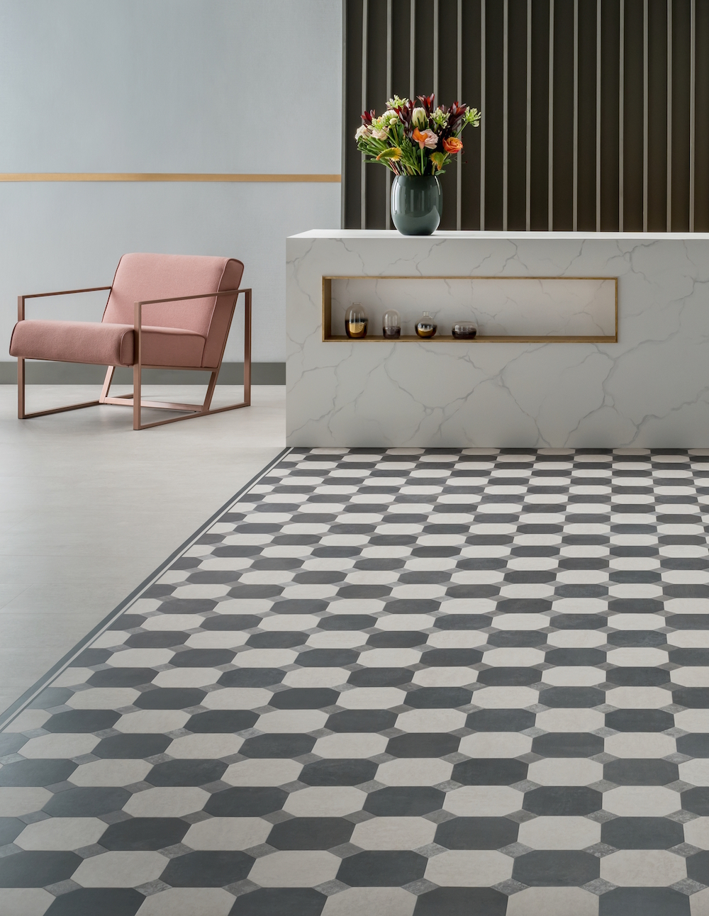 checkered flooring in public area