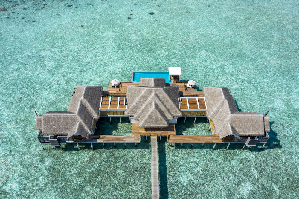 Anantara Kihavah Two-bedroom Over Water Pool Residence Exterior Aerial