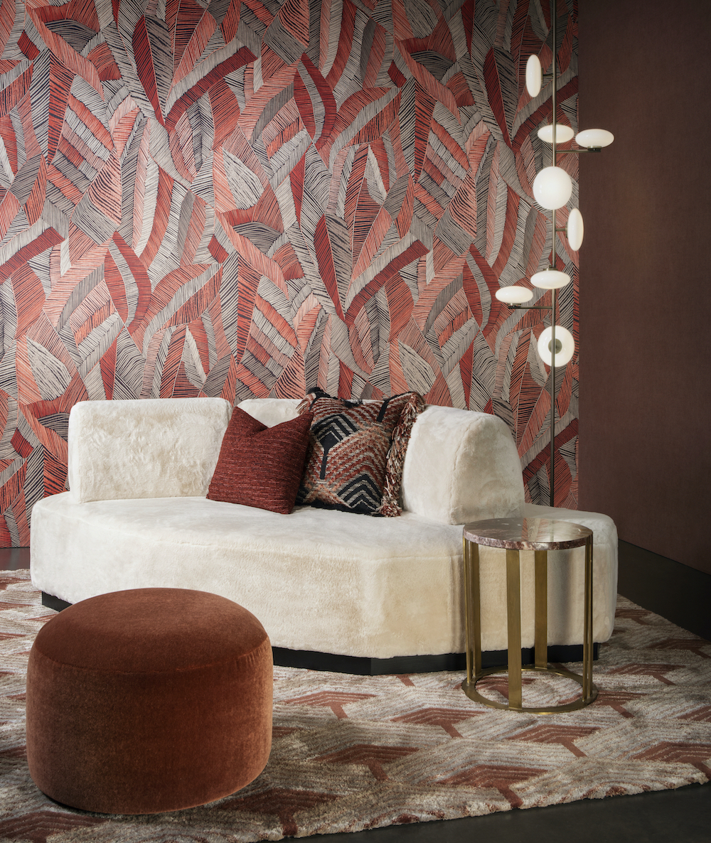 A patterned couture wall in a modern and contemporary lounge