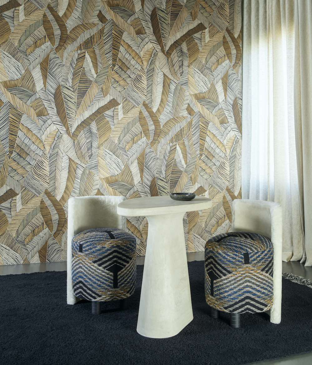 A modern couture design layout of a lounge with loud Arte wallcovering