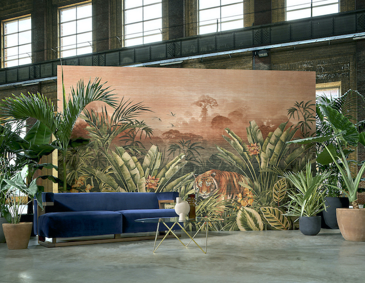 Image of tiger on walls in warehouse