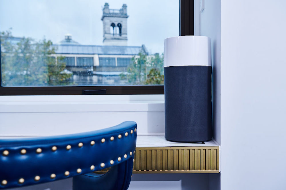 Image of Blueair air purifier on window of hotel
