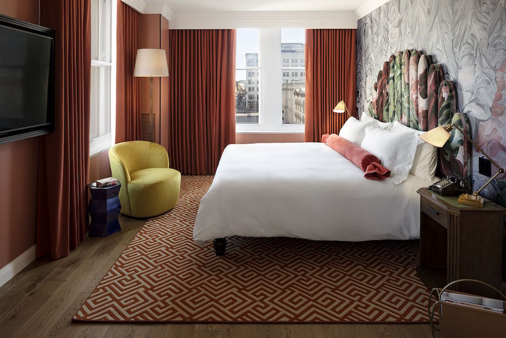 Image caption: Jacu Strauss collaborated with longtime friend George Benson to create the unique headboards in the guestrooms. | Image credit: Riggs Washington D.C.
