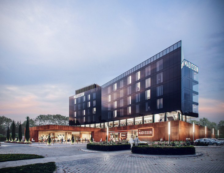 Exterior visualisation of ADP's new hotel in a post-industrial community