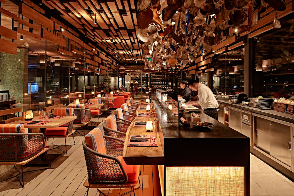 Image of western style interiors inside restaurant in the Maldives