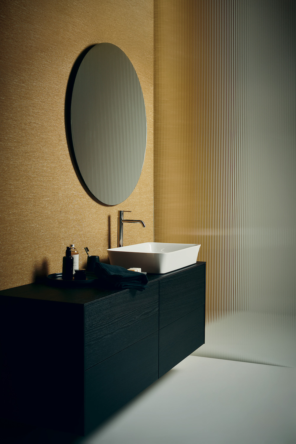 Image of colourful bathrooms and white ceramic basin