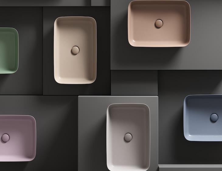 Image of pastel coloured wash basins